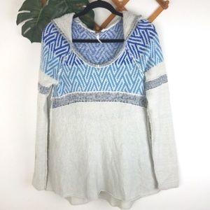 Free People   Med Wool Blend Sweater Hood Striped